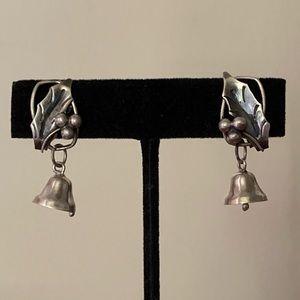 Silver Alpaca Holly Leaf Jingle Bells Earrings